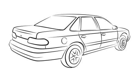 The Sketch of a old car.