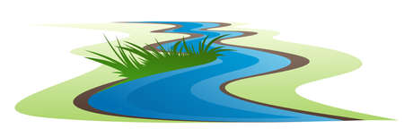 Symbol of a winding river with grass. Illustration
