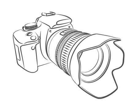 A sketch of the professional camera with a lens. Illustration