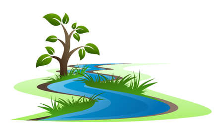 Symbol of a winding river with grass and tree.