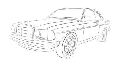 The Sketch of retro car. Illustration