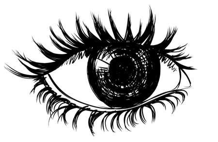 Sketch of the female eye in ink. Illustration
