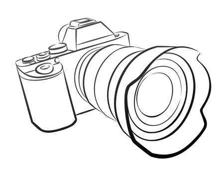 A sketch of the professional camera with a lens.
