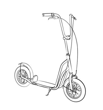 A sketch of a modern electric scooter.