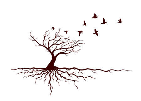 Autumn tree with roots and flying birds.