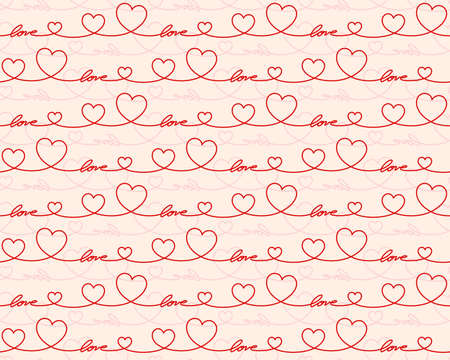 A Seamless red background with hearts.