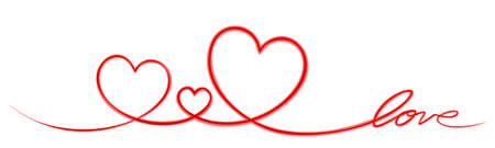 Symbol of the stylized red hearts. Illustration
