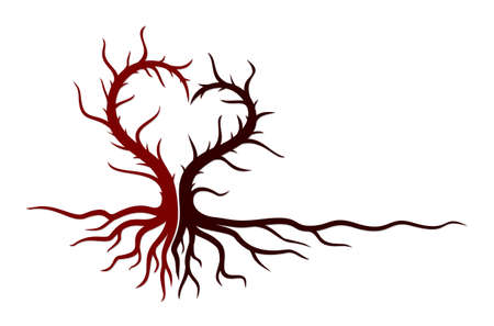 A tree symbol with a heart. Illustration