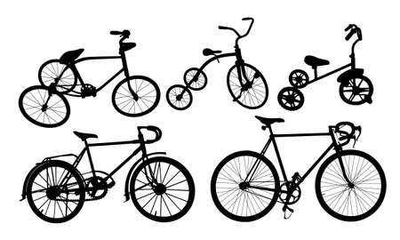 A Set of Silhouette of a old bike.