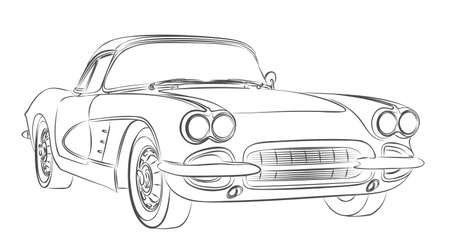The Sketch of retro car. Illustration