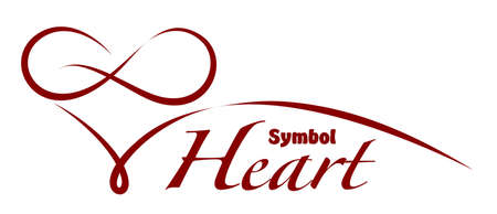 Symbol of stylized heart in red color.