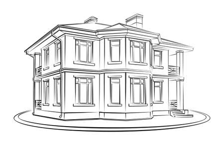 Sketch of a big country house. Illustration