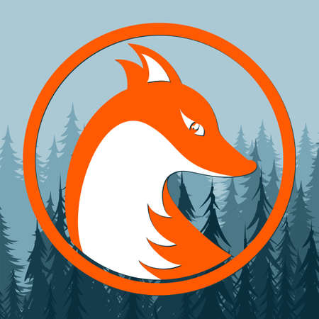 A symbol of a stylized red fox with forest.