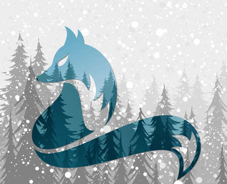 A symbol of a blue fox with winter forest.