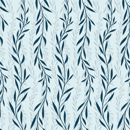 seamless blue background with plant pattern.
