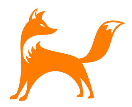 A symbol of a stylized red fox.