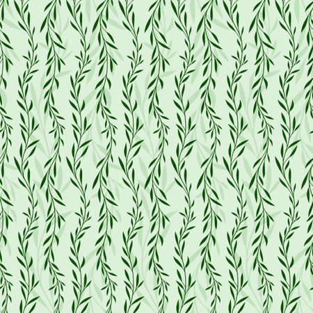 seamless green background with plant pattern.