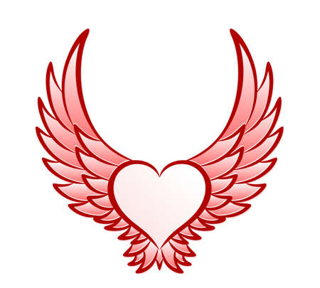 The Red heart symbol with wings.