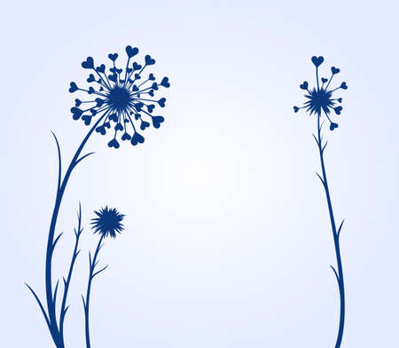 A flowers of a field dandelion with hearts.
