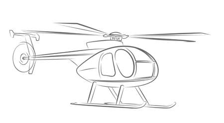 The sketch of a small helicopter.