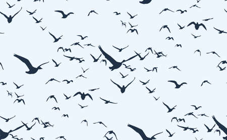 The Seamless background with flight ducks in the sky.