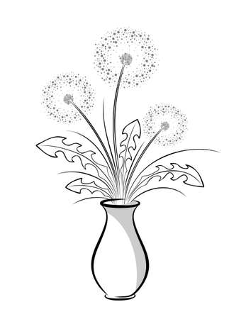 The Dandelion bouquet in vase.