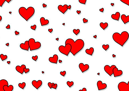 The Seamless background with red hearts. Illustration