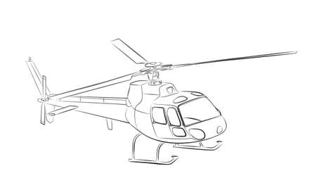 The sketch of a big helicopter.