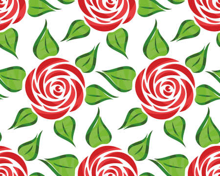 Seamless background with red garden rose.