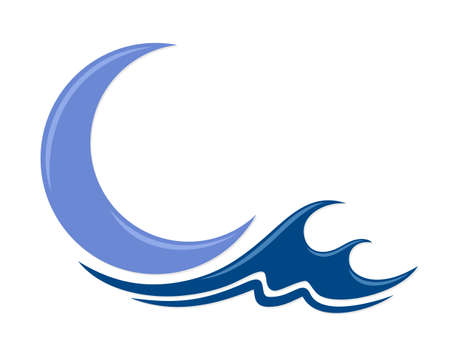 The moon and blue wave symbol.
