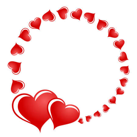 The round frame with red hearts.