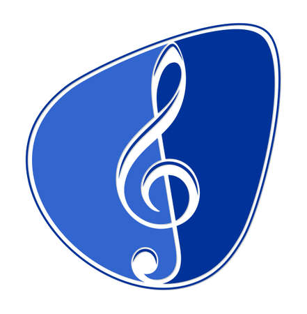 the Symbol of a blue guitar pick with a treble clef.