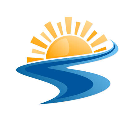 Sun and Blue river Symbol.