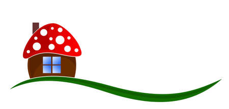 The mushroom house symbol with meadow.