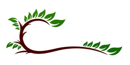 The symbol of tree branch with leaves.