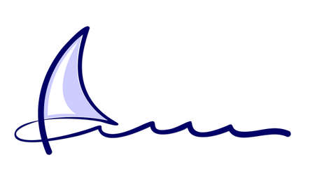 One line symbol of blue sailboat in the sea. Vectores