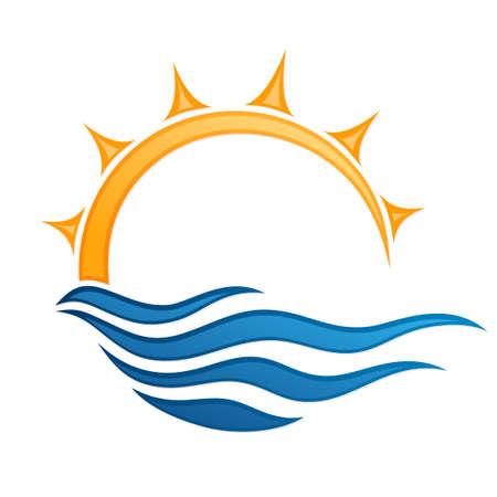Sun and Blue Wave round Symbol.