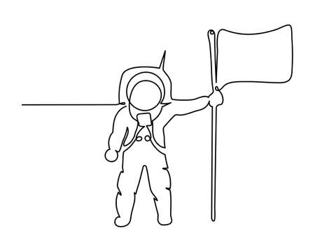 Space one line art. Single line one line astronaut, astronaut on the moon with flag cosmic silhouette. Trend art