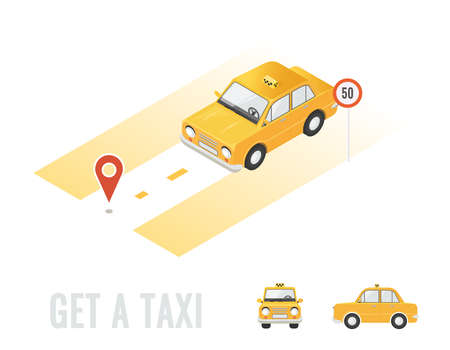 Taxi isometric isolated. Different sides of car. Online order taxi service horizontal illustration. Navigation and route. Flat 3d vector isometric high quality.