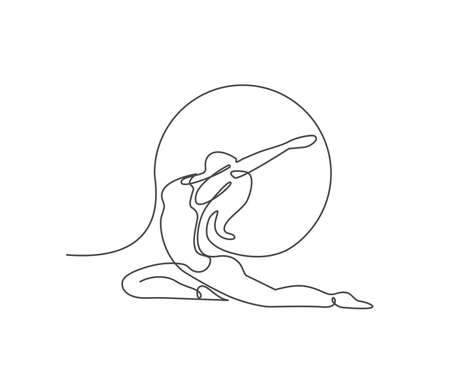 Young girl gymnast. Woman doing yoga exercise continuous line vector illustration.  イラスト・ベクター素材