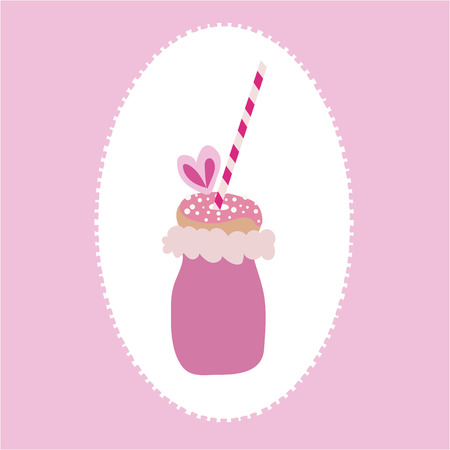 Vector of trendy freakyshake with cotton candy, doughnut with sprinkles, and a straw on a pink and white background. Perfect for a cafe, restaurant, bakery, or party invitations.