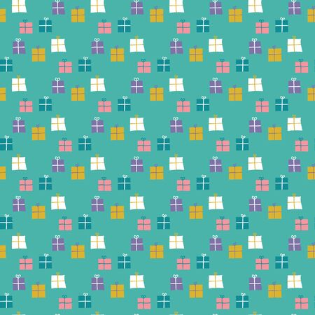 Seamless pattern of wrapped gifts on a mint green background. Great for textile print, party paper, or packaging. Vector file.