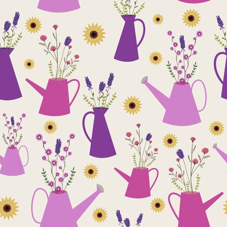 Wild flowers in watering cans seamless pattern. Perfect for fabric, scrapbooking, party invitations, and home decor projects. Banque d'images - 126554257