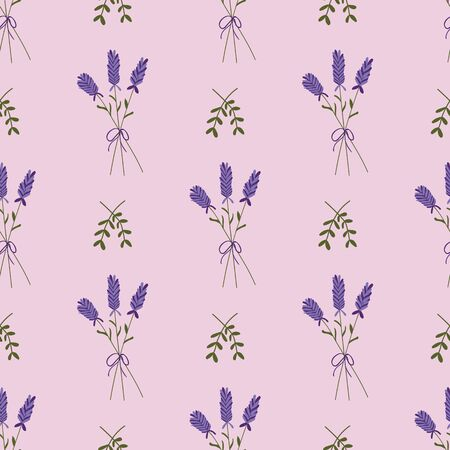 Lavender bouquet on a pink background seamless pattern. Perfect for fabric, scrapbooking, party invitations, and home decor projects.