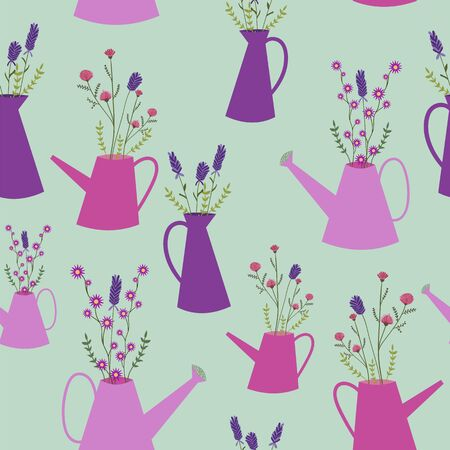 Wild flowers in watering cans seamless pattern. Perfect for fabric, scrapbooking, party invitations, and home decor projects. Banque d'images - 126382746