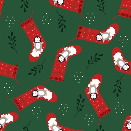 Seamless pattern of Christmas stockings with cute penguins on a dark green background.