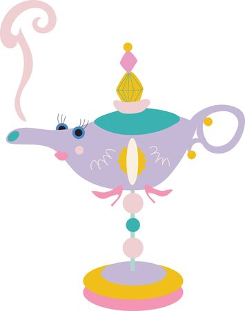 Stylized, fun, and cute oil lamp for children on a white background.