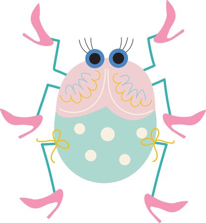 Stylized, fun, and cute ladybug with lashes and high heals for children on a white background.