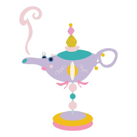 Stylized, fun, and cute oil lamp for children on a white background. Great for baby and children apparel or home decor projects. Vector file.