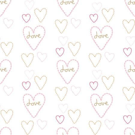 Seamless pattern of sweet hearts on a white background.